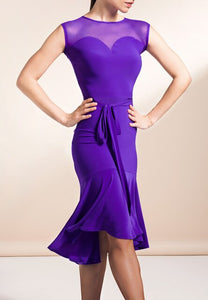 Stunning Sleeveless Latin Practice Dress with Belt Tie and Mesh Decolletage.  Available in 2 Color and Sizes S-XL Pra376