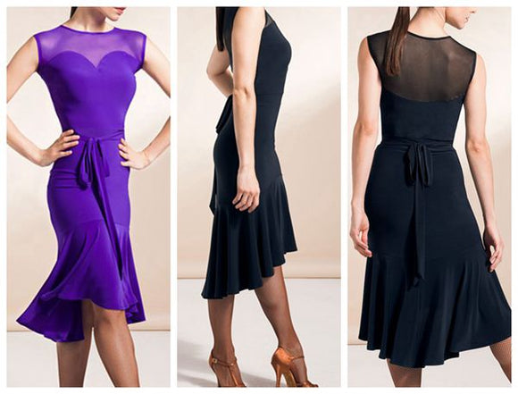Stunning Sleeveless Latin Practice Dress with Belt Tie and Mesh Decolletage.  Available in 2 Colors and Sizes S-XL Pra376
