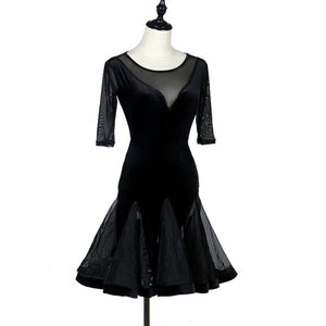 Black Mesh and Velvet Latin Practice Dress With V Neck and Half Length Sleeves and Horsehair Hem.  Available in S-XXL Pra363