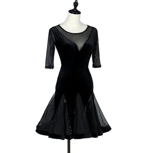 Black Mesh and Velvet Latin Practice Dress with V-Neck, Half-Length Sleeves and Horsehair Hem.  Available in S-XXL Pra363