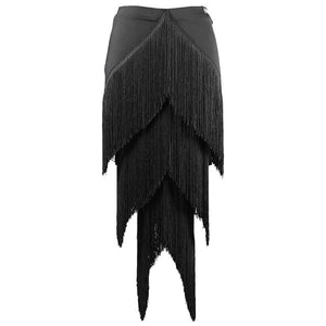 Black Layered Fringe Latin Practice Skirt with Chevron Design and Elastic Waistband. Available in Sizes S-XXL Pra368