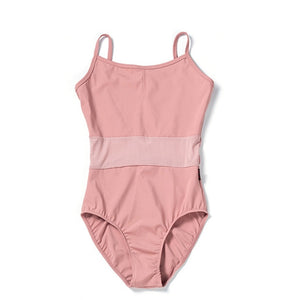 Bria Spaghetti Strap Ladies Ballet or Dance Leotard with Mesh Front and Back Panels.  Available in 4 Colors