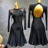 Black Latin Dress with Mesh Sleeves and Fringe Accents on Bodice and Hips.  Available in XS-XL Pra392