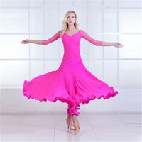 Long Ballroom Practice Dress with 3/4 Sleeves, Soft Hem, Rouching and V-Neck. Available in 5 Colors and Sizes S-XXL Pra411