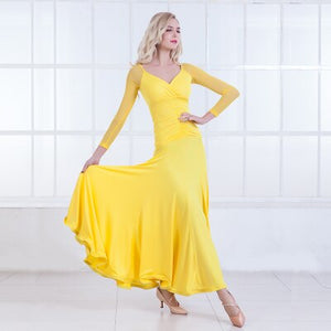 Long Ballroom Practice Dress with 3/4 Sleeves and Soft Hem. Features Rouching and V neck.  Available in 5 Colors and Sizes S-XXL Pra411