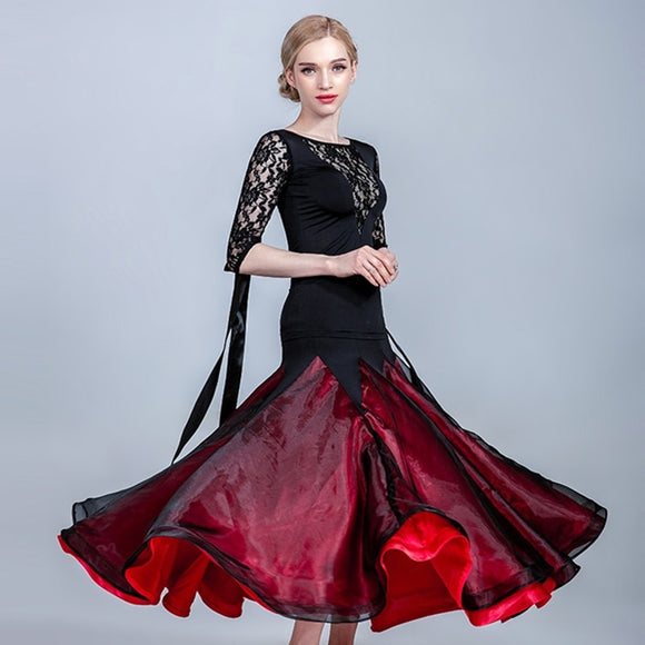 Bright Ballroom Practice Skirt with Black Shimmer Chiffon Layer and Wrapped Horsehair Hem with Optional Matching Lace Top and Attached Ribbon Floats Pra482