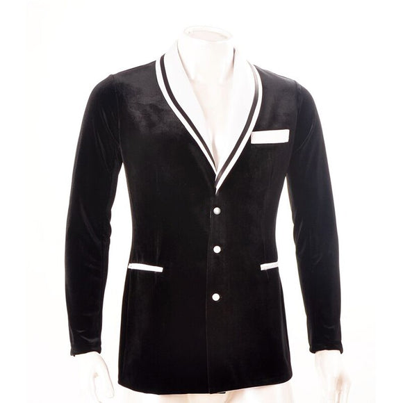 Elegant Velvet American Smooth Dance Jacket with White Nautical Lapel and Pocket.  Avaiablae in S-3XL M010