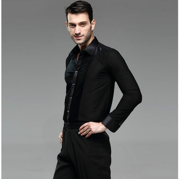 Black Men's Latin Tuck Out Shirt with Velvet Accent and Collar. Available with Winged Collar or Mandarin Collar M004