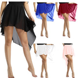 Anya Ladies Asymmetrical Ballet Dance Skirt with Elastic Waistband.  Available in 5 Colors