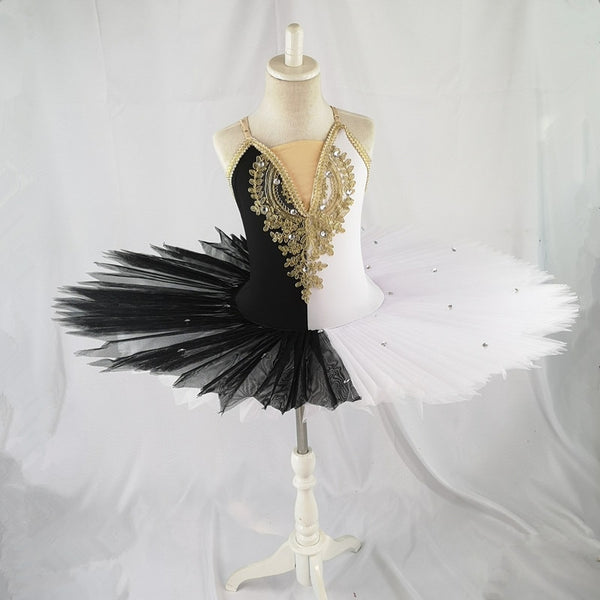 Brylee Half Black and White Professional Tutu Ballet Costume with Gold Lace and Tan Mesh Neckline.