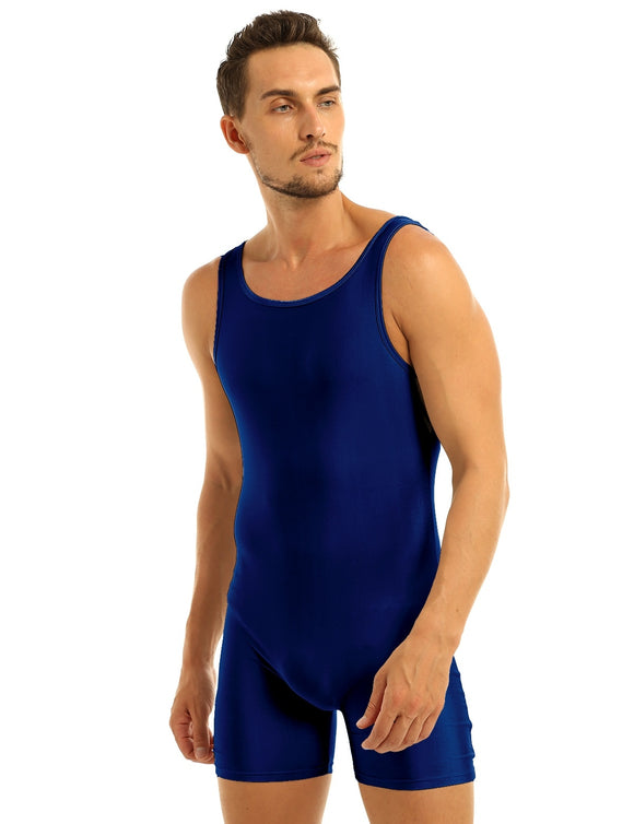 Adam Ballet Dance Shimmer Lycra Unitard Shorts for Men and Older Boys.  Available in Black, Navy and Gray
