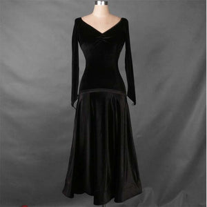 Shimmer Velvet Long Sleeve Ballroom Practice Dress with Satin Waistline.  Available in 3 Colors and Sizes XS-XXL Pra412