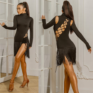 ZYM Dancestyles The Minimalist Sexy Dress #1948H Sexy Long Sleeve Latin Practice Dress with Fringe Skit and Cross Strap Detail. Bodysuit Built In   Available in Sizes S-XL Pra508