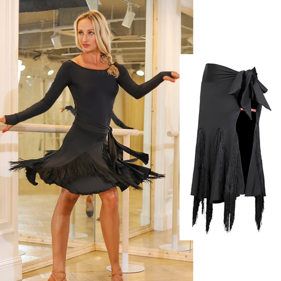 Sexy Black Fringe Latin Skirt with Tie Closure and Side Slit. Available in Sizes S-XL Pra417