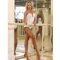 Sexy White Latin Bodysuit Practice Top with Double Spaghetti Straps and Lace-Up Back. Available in S-XL Pra416