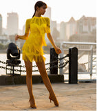 Vibrant Yellow Latin Fringe Practice Dress with Short Sleeves and High Collar.  Also Available in White and Black and Sizes