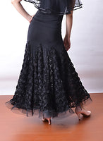 Long Black Ballroom Practice Skirt with 3D Floral Mesh Panels and Horshair Hem.  Available in Sizes S-3XL Pra514