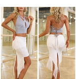 WHITE MINI SKIRT WITH FRINGE DETAIL AND POINTED HEM AVAILABLE IN SIZES XS-L PRA415a