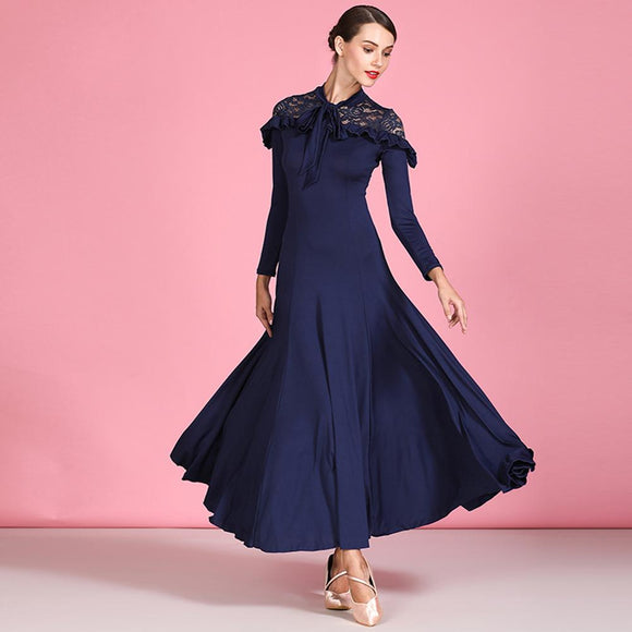 Navy Blue Long Sleeve Ballroom Practice Dress with Lace Decolletage and Ruffle Detail Available in Sizes S-XXL Pra474