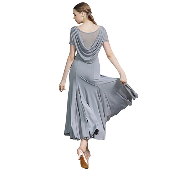 Long Ballroom Practice Dress with Draped Sash Detail, Short Sleeves and Mesh Inserts.  Available in Navy Blue and Grey and Sizes S-XXL Pra485