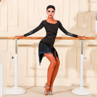 New Long-Sleeved Latin Competition or Practice Dress With Shimmer Fabric and Fringe Skirt.  Available in Black or Navy Blue and Sizes S-XL Pra473