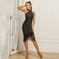Sexy Black Latin Practice Dress with Crossed Halter Top and Asymmetrical Fringe Skirt.  Avaliable in S-XL Pra450