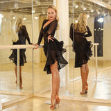 Sheer Black Latin Practice Dress with Full Skirt and Fringe, Mesh Long Sleeves and Keyhole Cutout. Pra484