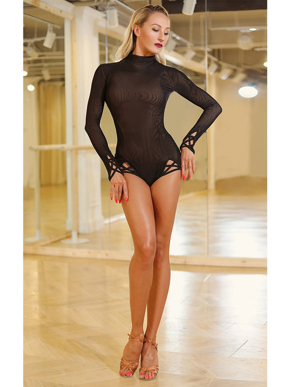 Sexy Black Mesh Practice Top Bodysuit with Long Sleeves and Cross Strap Accent at Hips and Wrists.  HIgh Neckline Pra466