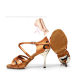 BD Tan or Black Latin Dance Shoes with Gold Metallic Heel and Signature BD Flower Available in Multiple Heel Heights BD 2383
