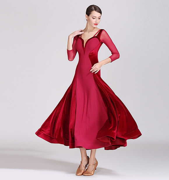 Stunning Red or Green Ballroom Practice Dress with 3/4 Sleeves and Velvet Accents with mesh details and Wrapped Horsehair Hem.  Available in 2 Colors and Sizes S-XXL Pra481