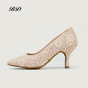 BD Ladies Standard Ballroom Shoe with Delicate Lace Over Entire Pump. Available in White or Rose Cream BD 104-B