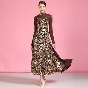 Long Sleeve Ballroom Practice Dress with Leopard Print Lycra and Mesh Sleeves and Gussets.  Pra489