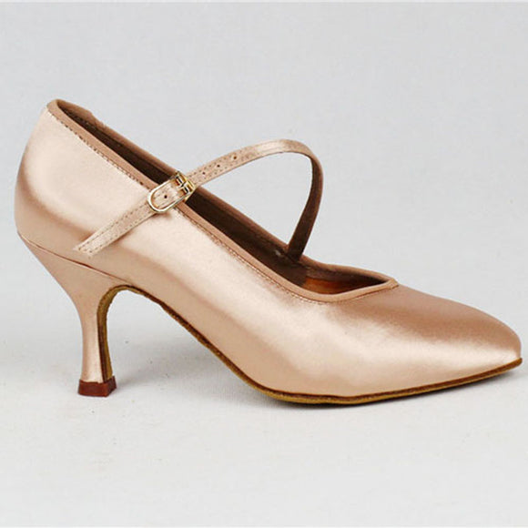 BD 138 Women's Single Strap Standard Ballroom Shoe in Tan Satin Available in Multiple Heel Heights