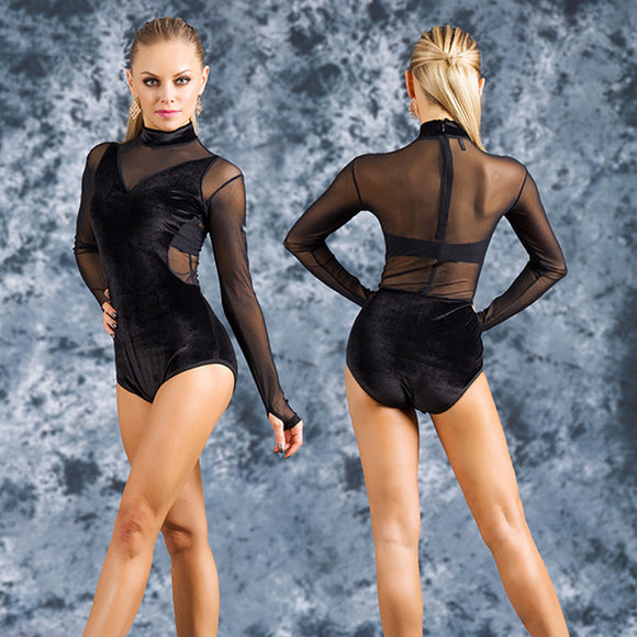 Sexy Black Long Sleeve Bodysuit Practice Top with Velvet Bodice and Mesh Back and Sleeves.  Available in Sizes S-XL Pra518_in