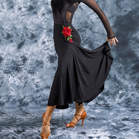 Long Ballroom/Latin Practice Skirt with 3D Red Rose Applique And Soft Hem.  Available in S-XL Pra519