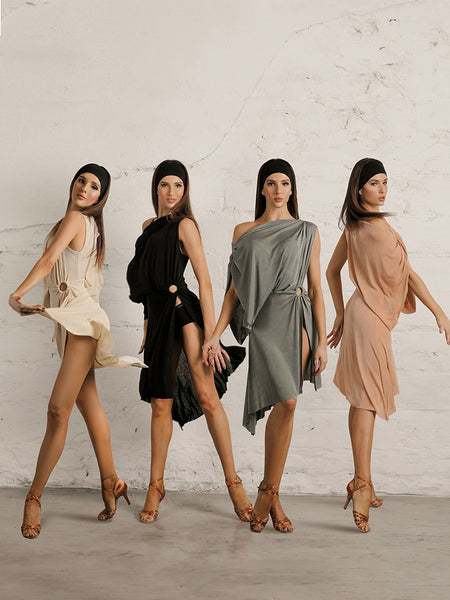 ZYMdancestyle Caramel Steps #19133 Latin Dance Practice Wear Dress in Multiple Colors One Shoulder Loose Slip Sleeves Pra534
