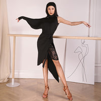 ZYM Dancestyles 19113 Latin Practice Dress with Lace Panel and One Long Sleeve Pra522