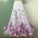 White Floral Ballroom Skirt with Nylon Hem and Multiple Layers  Choose from 3 Colors Available in Sizes S-3XL Pra590