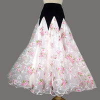 Full Ballroom Practice Skirt with White Floral Chiffon.  Available in Multiple Flower Options Pra593