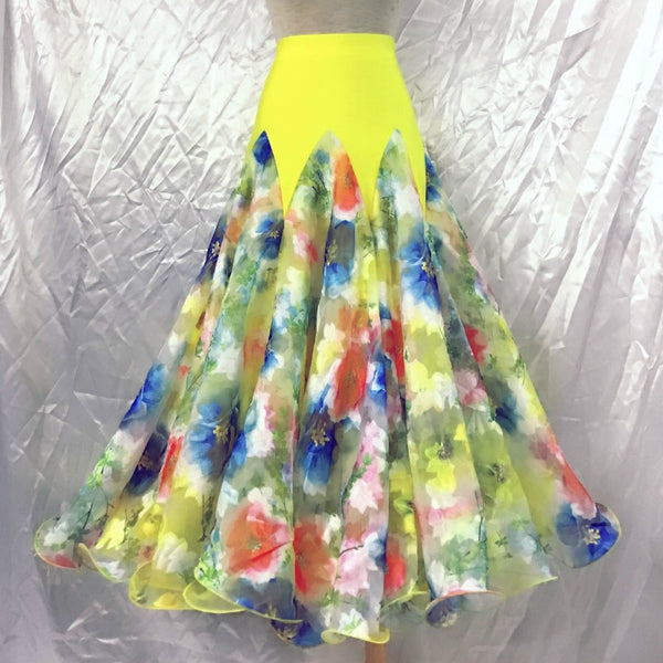 Yellow Ballroom Practice Skirt with Blue Floral Pattern Pra592