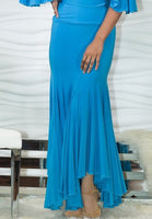 Long Ballroom Practice Skirt with Flutter Flare and Uneven Hem.  Available in 4 Colors and Sizes S-XL Pra591