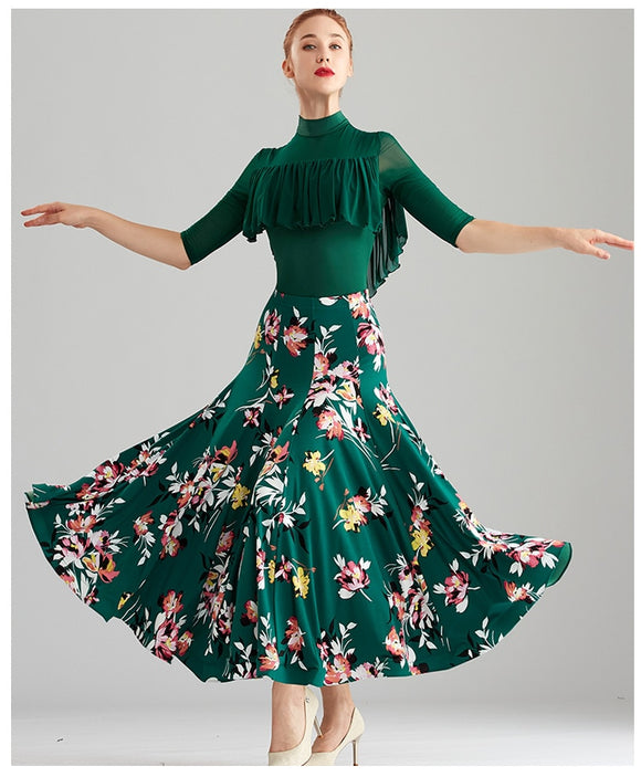 Green Floral Print Ballroom Practice Skirt with Wrapped Horsehair Hem and Optional Matching Practice Top Bodysuit Pra594
