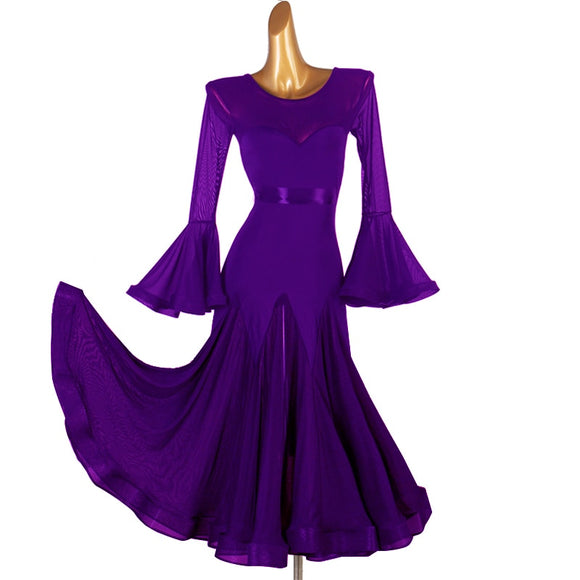 Long Ballroom Practice Dress with Mesh Gussets and Long Flare sleeves Available in 5 Colors Pra660