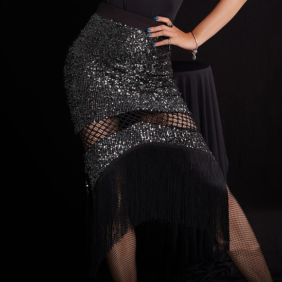 Black Sequin and Fringe Latin Practice Skirt with Fishnet Cutout Pra613