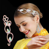 Latin or Ballroom Hair Piece Hair Jewelry with Crystal AB Stones Pear Teardrop Sew Ons And Round SS16 and SS20 H001