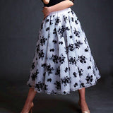 Black and White Floral Ballroom Practice Skirt Ir Bow Tie and Soft Hem. Sizes S-4XL Pra612