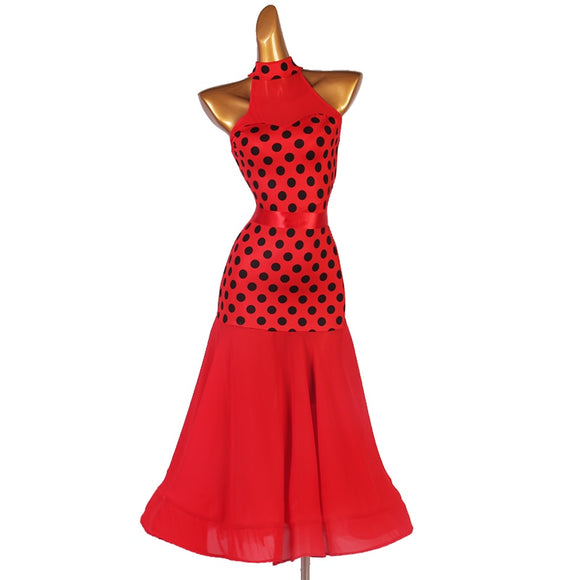 Darling Long Red Ballroom Practice Dress with Black Polka Dots with Removable Satin Belt. Features Wrapped Horsehair Hem and High Neck Halter Collar Pra636