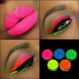 Long Lasting Fluorescent Neon Eye Shadow Make Up Powder Pallet Comes with Pink Orange Blue Green Purpleand Chartreuse Yellow Ma002