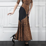 Long Brown and Black Cheetah Print Ballroom Practice Skirt with Color Blocking and Soft Hem Sizes S-3XL Pra647