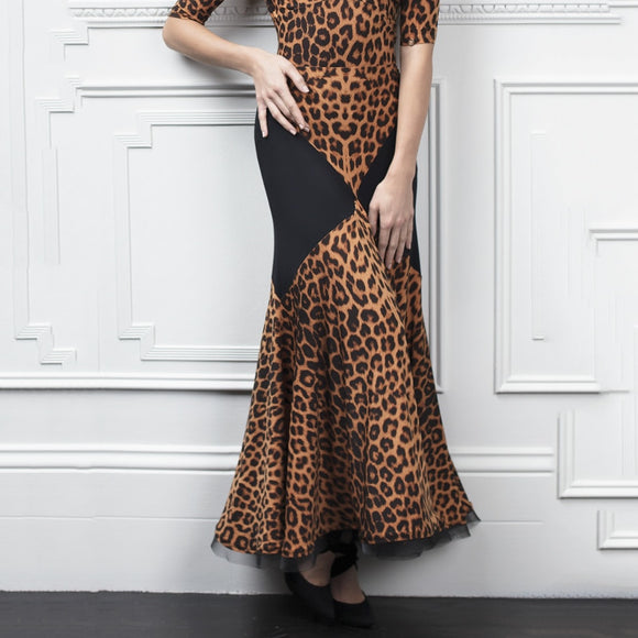 Long Brown and Black Cheetah Print Ballroom Practice Skirt with Color Blocking and Soft Hem Pra647